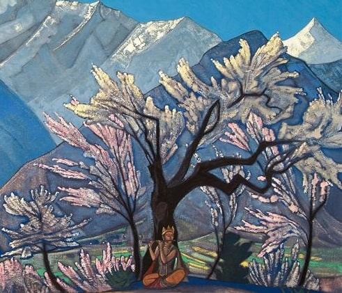 Nicolas Roerich, détail Krishna, printemps à Kullu yoga reiki arles delia